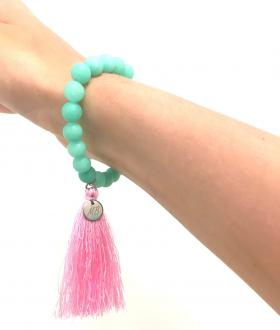 Mint jadeit - Pink Long Tassel